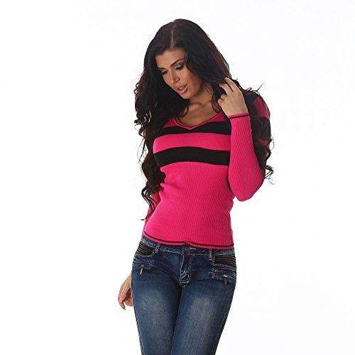 Damen Strickpullover Langarm mit V-Ausschnitt Gestreift Einheitsgröße 8 verschieden Farben (34-38) Jela London Pink