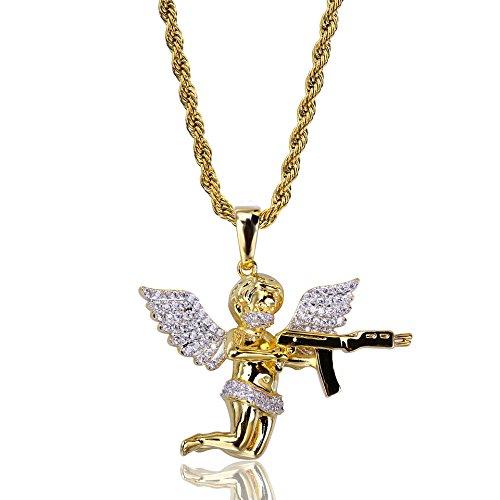 Unisex Gold Überzog Hip Hop Kette Engel Amors Liebe Brave Herz Pfeil Zirkon Halskette Anhänger Für Männer Frauen Punk (Amor Engel Kostüm)