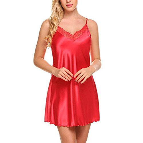 DOLDOA Damen V-Ausschnitt Spitze Spleißen Unterkleid Lingerie Sling Unterrock Unterwäsche Geburtstags Geschenk Für Frauen Mädchen Freundin (EU:38, Rot V-Ausschnitt Spitze Spleißen Unterkleid)