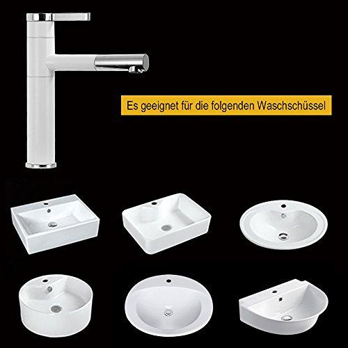 Homelody – Waschtisch-Einhebelarmatur, Schwenkauslauf 360°, herausziehbarer Brausekopf, Weiß-Chrom - 4