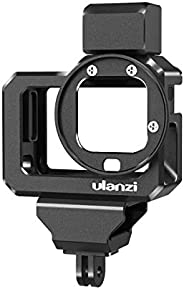 Ulanzi G8-5 Aluminum Video Cage for GoPro 8, Dual Cold Shoe Mount Vlog Case Housing Shell Protective Frame Mount w 52mm Filt