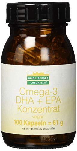 Heidelberger Chlorella - Omega-3 DHA + EPA Konzentrat Kapseln, vegan, aus Algenöl, hochdosiert, gute Bioverfügbarkeit, 61 g, 100 Kapseln -