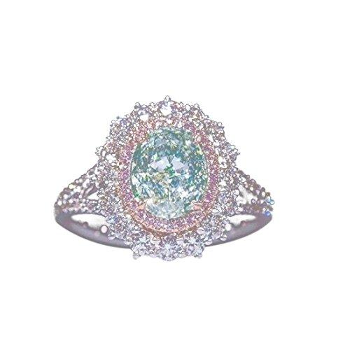 VWH Einfacher Kreisförmiger Wassertropfen-Geometrischer Kristalldiamant-Gelenkring (Größe 7) - Jubiläum-diamant-band