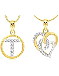 Vidhi Jewels T Alphabet & Heart Shaped Gold Plated Alloy And Brass Pendant Set [VCOMBO126G]