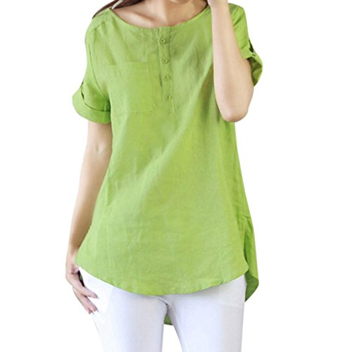 Kobay Women Summer Casual Short Sleeve Loose T Shirt,Women's Short-Sleeved Cotton Linen Large Size Solid T-Shirt Blouse Tops Green White