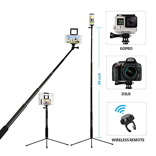 "Moreslan 59"" Bluetooth Selfie Stick Tripod with Remote for iPhone X 8 Plus 7 Plus 6S Plus Samsung Galaxy S8 S7 iPad Gopro, 3 in 1 Extendable Monopod Tripod Stand for SLR Camera 360° Rotation"