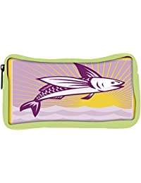 Snoogg Eco Friendly Canvas Flying Fish At Sea Ocean Square Retro Student Pen Pencil Case Coin Purse Pouch Cosmetic...