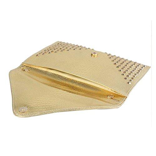Damen Abendessen Tasche Damen-Umschlag-Beutel Handy Kosmetiktasche Gold