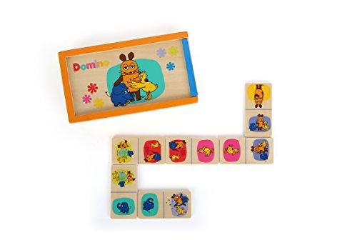 Small Foot Design 10492 Sendung Domino aus Holz mit verschiedenen Motiven aus Der Maus in praktischer Schiebebox, als Reisespiel geeignet