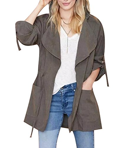 Minetom Donna Cappotto Giacca Manica Lunga Casuale Coulisse Trench Coat Cardigan Parka Cappotti Grigio