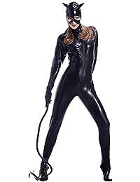 HGUIAZ Donne Catsuit Sexy Body Brevetto Pelle Catwomen Jumpsuit Fantasia Vestito  Costume con Davanti Cerniera Aperto 6ba52cff00b8