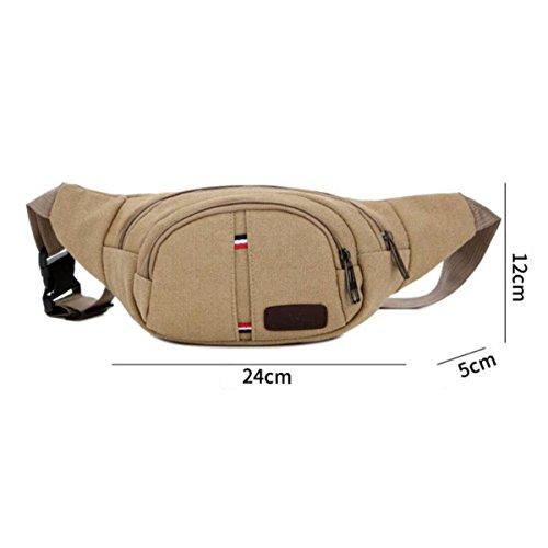 Uomini Sport Viaggio All'aperto Facile Camminare Sport Tascabili Cinture Sportive,Green Brown