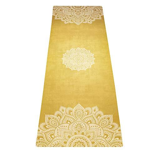 Yoga Design Lab Combo Matte 3,5mm | Rutschfest | Matte/Handtuch| Guter Halt bei viel Schweiß | Natürliches Baumgummi | Extra dick | Hot Yoga, Bikram, Pilates, Ashtanga (Mandala Gold)