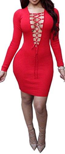 Femmes Sexy col en V profond à manches longues Slim Fit Clubwear Mini robe moulante Bandage Rouge