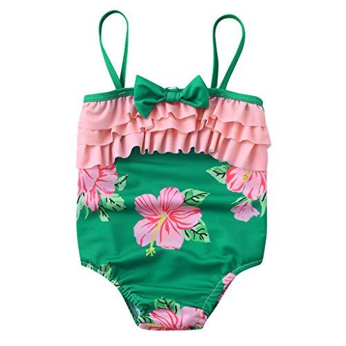 MOIKA Baby Mädchen Badeanzug, Sommer Kinder Baby Mädchen Bogen Rüschen Blumendruck Badebekleidung Strand Schwimmen Bikini Strampler Overall (12Monate-6Jahre)