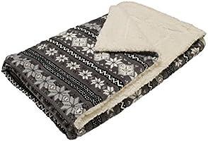 Soleil d'Ocre 512134 Snow Plaid Polaire Imprimé Effet Mouton Polyester Gris 160 x 120 cm