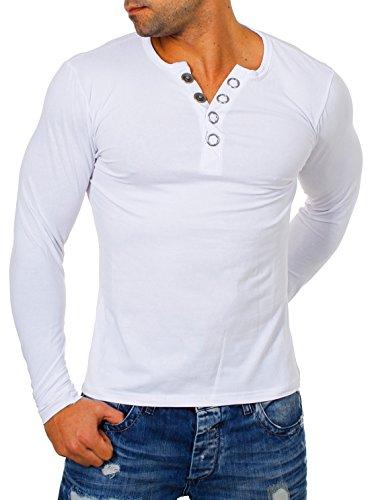Young & Rich Herren Longsleeve Langarm T-Shirt Knopfleiste mit Extra Großen Metall Knöpfen Slimfit Big Buttons 2872, Grösse:M;Farbe:Weiß