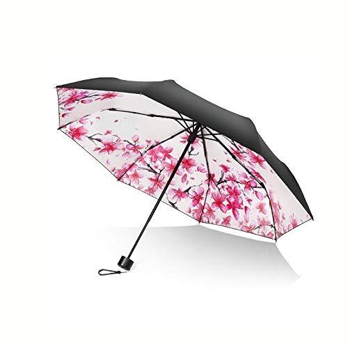 ZOUQILAI Double Parapluie Soleil Protection UV Femme Petite Pluie Fraîche Parapluie Double Usage Parapluie Cinq