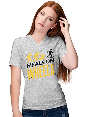BLAK TEE Damen Halloween Meals on Wheels V-Neck T-Shirt