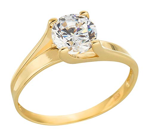 Ardeo Aurum Damenring aus 333 Gold Gelbgold mit Zirkonia im Brillant-Schliff Solitär-Ring Verlobungsring