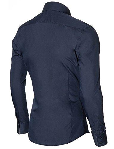 Herren Hemd Slim Fit Freizeithemd Langarm von MODERNO (MOD1413LS) MOD1413LS-Dunkelblau
