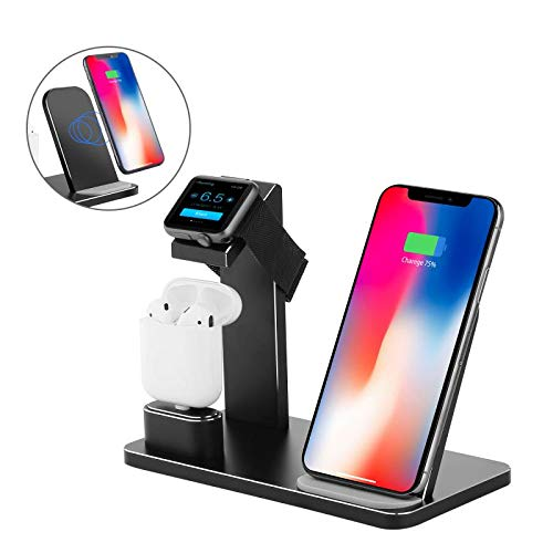 Supporto di Ricarica per Apple Watch,YOMENG Wireless Qi Fast Charging Stazione 3 in 1 Dock per Caricabatterie in Alluminio per iPhone X XS MAX XR 8 Plus Ipad AirPods e Iwatch Series 4/3/2/1