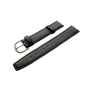 18mm Kalb Leder Uhrenarmband Schwarz Silberschließe inkl. Myledershop Montageanleitung