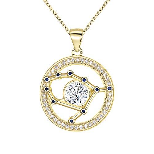 FANZE Mujer Plata de Ley 925 CZ Horóscopo Zodiaco 12 Constelación Colgante Collar Oro Regalo de Cumpleaños Joya- Geminis