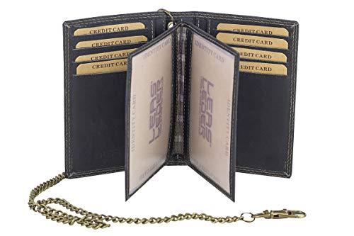 LEAS MCL Biker-Kreditkarten- und Ausweismappe mit Kette Vintage-Stil in Echt-Leder, schwarz - LEAS Chain-Series
