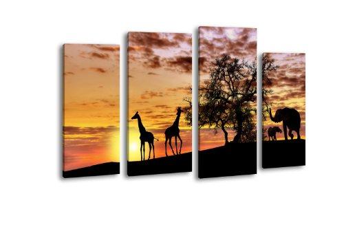 Leinwandbild Tiere im Abendrot LW424 Wandbild, Bild auf Leinwand, 4 Teile, 180x100cm, Kunstdruck Canvas, XXL Bilder, Keilrahmenbild, fertig aufgespannt, Bild, Holzrahmen, Afrika, Giraffe, Elefant,