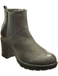 Angkorly - Zapatillas de Moda Botines chelsea boots zapatillas de plataforma altas mujer piel de serpiente leopardo Talón Tacón ancho alto 6.5 CM - Gris