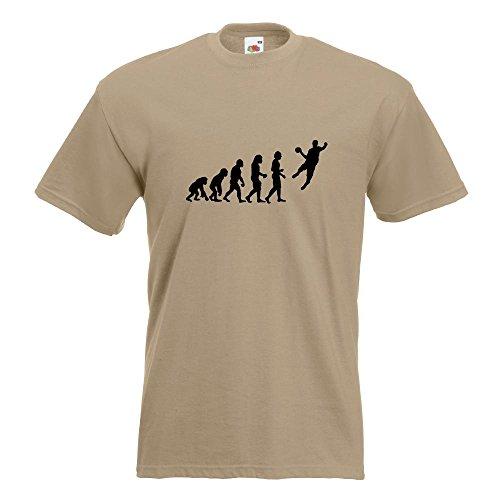 KIWISTAR - Evolution Handballer T-Shirt in 15 verschiedenen Farben - Herren Funshirt bedruckt Design Sprüche Spruch Motive Oberteil Baumwolle Print Größe S M L XL XXL Khaki