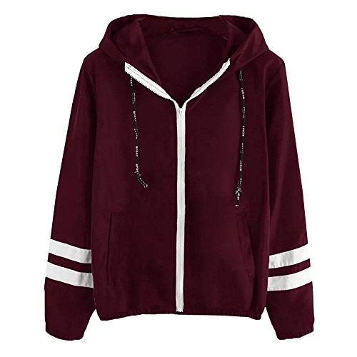 Jacke Damen,Transwen Frauen Langarm Patchwork dünne Skin Suits mit Kapuze Reißverschluss Taschen Sport Mantel Outdoorjacke Übergangsjacke (S, Rot)