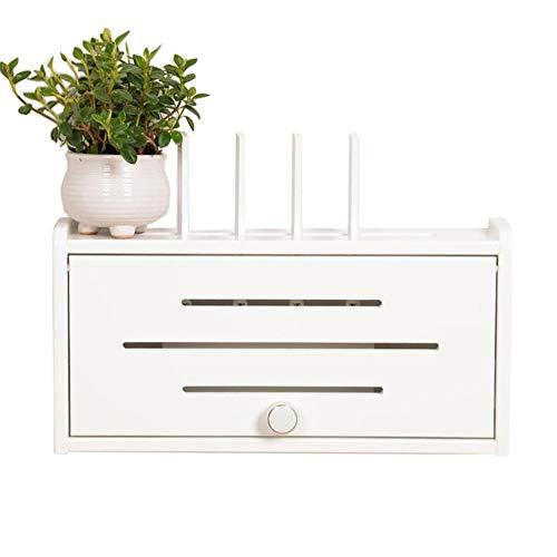 Set Top Box Regal Massivholz Wandmontiertes WLAN-Netzkabel Router Wandkasten Aufbewahrungsbox, 6 Stile (Farbe : White medium)