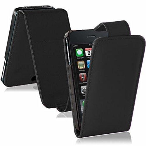 Vcomp Schutzhülle/Flip Case für Apple iPhone 3G/3GS, PU-Leder, Stoff, mit Standfunktion SCHWARZ1