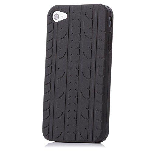 Apple iPhone 4/4S | iCues Reifen TPU Case Schwarz | [Display Schutzfolie Inklusive] Reifenprofil Jungs Männer Silikon Gel Schutzhülle Hülle Cover Schutz (I Phone 4s Schutzhüllen Für Männer)