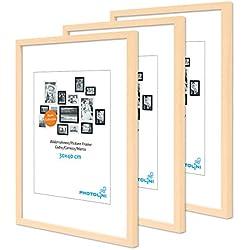 Lot de 3 Cadres 30x40 cm Moderne Naturel en MDF avec vitre en Acrylique Comprenant Accessoires/Collage de Photos/galerie d'images/Multi Cadre Photo Mural