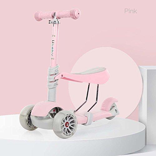 GONGFF Kinderroller 3 Räder Können Wagen Auto Baby 2-4 Jahre Alte Achterbahn Kind Drei In Einem Flash-Rad Twist Auto Sitzen,Pink -
