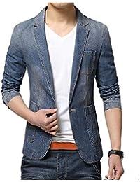 WQ&EnergyMen Mens Solid Color Denim Slim Flat Collar Long-Sleeve 1 Button Dress Suit