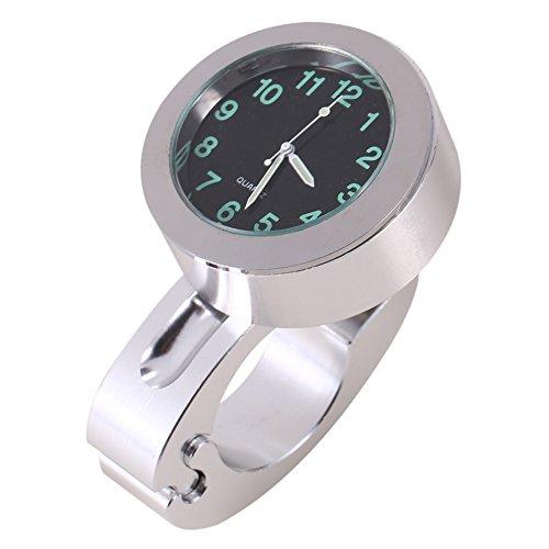 Preisvergleich Produktbild Qiilu Silber Motorrad Wasserdichte Lenker Glow Mount Uhr Universal