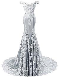 JAEDEN Mujer Vestidos de Noche Sirena Largo Vestido de Baile Vestido de Novia Encaje Satín