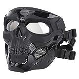 SGOYH Airsoft Tattico Skull Messenger Masks Equipaggiamento Protettivo Maschera Integrale per Halloween Caccia Paintball CS Wargame (Nero)