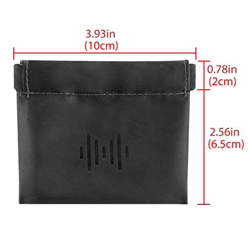 Geekria Soft Elastic PU Earbud Pouch Case / Headphone Carrying Bag / Universal Headphone Protection Pouch / Pocket Earphone Case / Coin Purse change Holder / Portable Travel Bag (Black) - 3