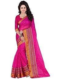 Kiranz Web Store Women's Pink Cotton Silk Saree (Pink(chekered) Kwsmpb_140)