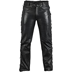 Jean-Pantalón de cuero de cuero Biker Jeans Rocker-Pantalones vaqueros, para alimentación lateral, color negro