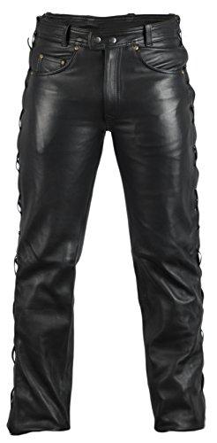 MDM Lederjeans Lederhose Bikerjeans Rockerjeans Motorradhose seitlich geschürt schwarz (33)