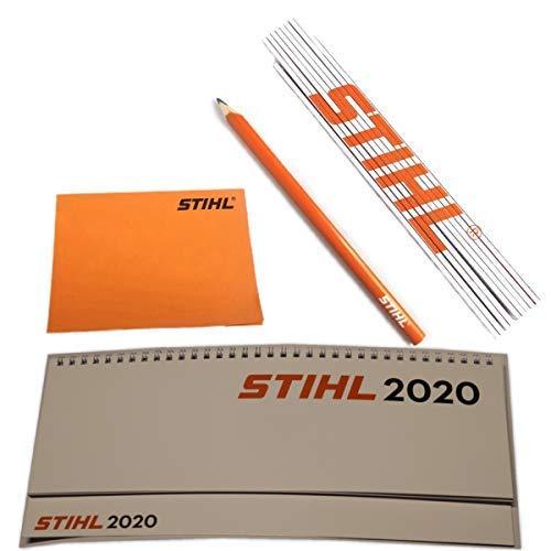Stihl Kalender 2020 Tischkalender Quer mit Zollstock + Zimmermannsbleistift + Haftnotizen selbstklebend