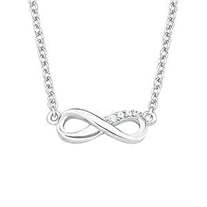 """s.Oliver Damen Halskette So Pure (40+5 cm) mit Anhänger """"Infinity-Unendlichkeitszeichen"""" aus 925 Sterling-Silber mit Zirkonia weiß"""