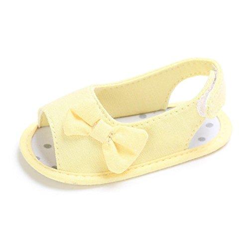 Sommer Sandalen Krabbelschuh Babyschuhe Mädchen Bowknot Print Schuhe Blumen Sandalen Lauflernschuhe Riemchensandalen Sommerschuhe Turnschuh LMMVP ( 0 Monat-18 Monat ) (Gelb, 13 (12~18 Monat))