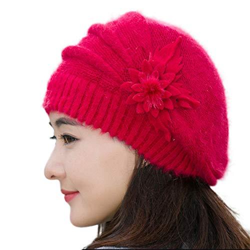 Yvelands Damen Mütze Blume stricken häkeln Beanie Mütze Winter warme Mütze